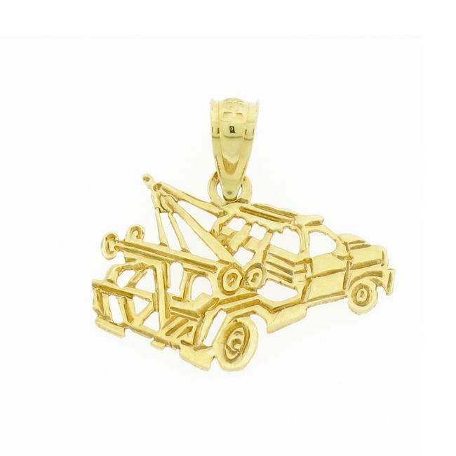 Towing Truck Charm Pendant 14k Gold