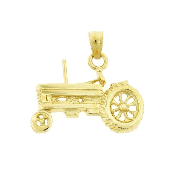 Tractor Charm Pendant 14k Gold