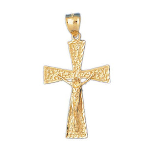 Cross with Jesus Figurine Charm Pendant 14k Gold