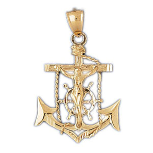 Jesus Christ on Cross Anchor Charm Pendant 14k Gold