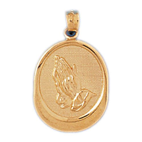 Prayer Hands Charm Pendant 14k Gold