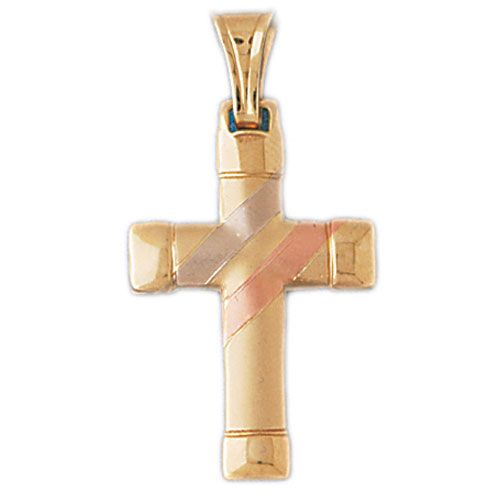 Two Tone Cross Charm Pendant 14k Gold