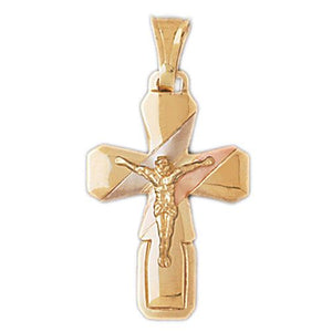 Two Tone Jesus Christ on Cross Charm Pendant 14k Gold