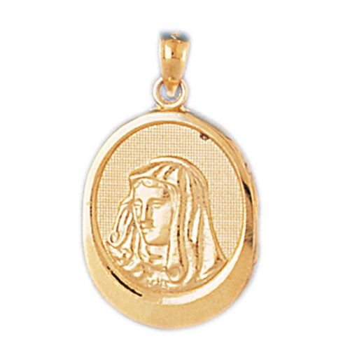 Virgin Mary Charm Pendant 14k Gold
