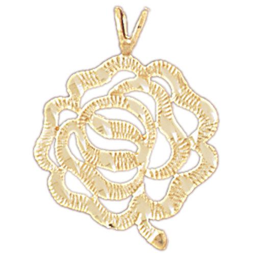 Flower Rose Charm Pendant 14k Gold
