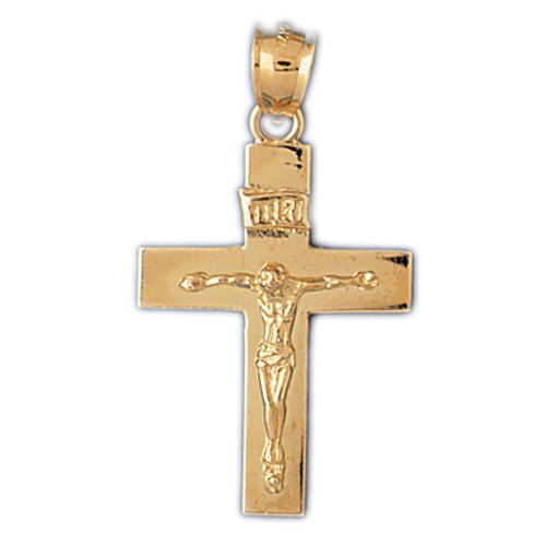 Jesus Christ on Cross Charm Pendant 14k Gold
