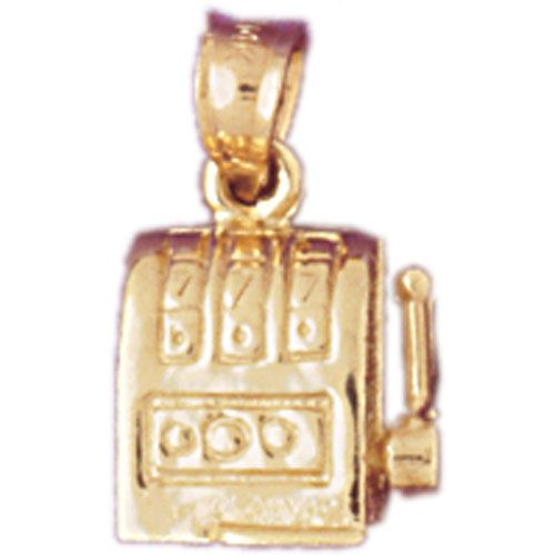 Slot Machine Charm Pendant 14k Gold