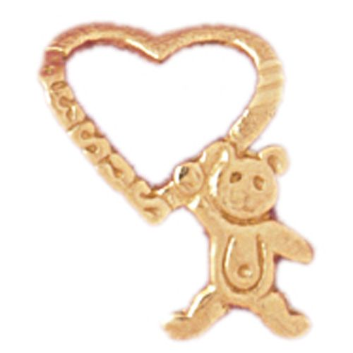 Teddy Bear Heart Charm Pendant 14k Gold