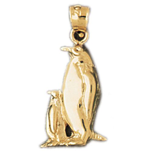 Penguins Charm Pendant 14k Gold