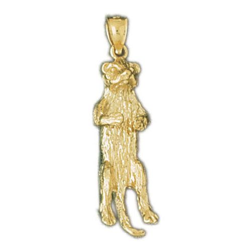 3D Squirrel Charm Pendant 14k Gold