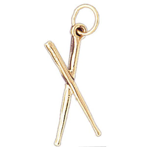 3D Drum Sticks Charm Pendant 14k Gold