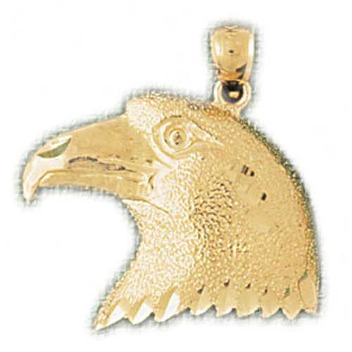 Eagle Head Charm Pendant 14k Gold