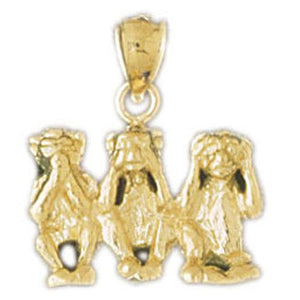 3D Monkeys Charm Pendant 14k Gold