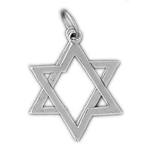 Star of David 2 Pieces Moveable Charm Pendant 14k White Gold