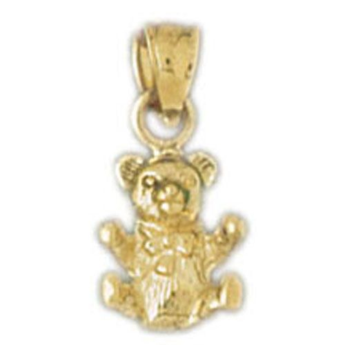 3D Teddy Bear Charm Pendant 14k Gold