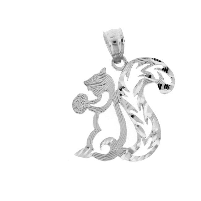 Squirrel Charm Pendant 14k White Gold