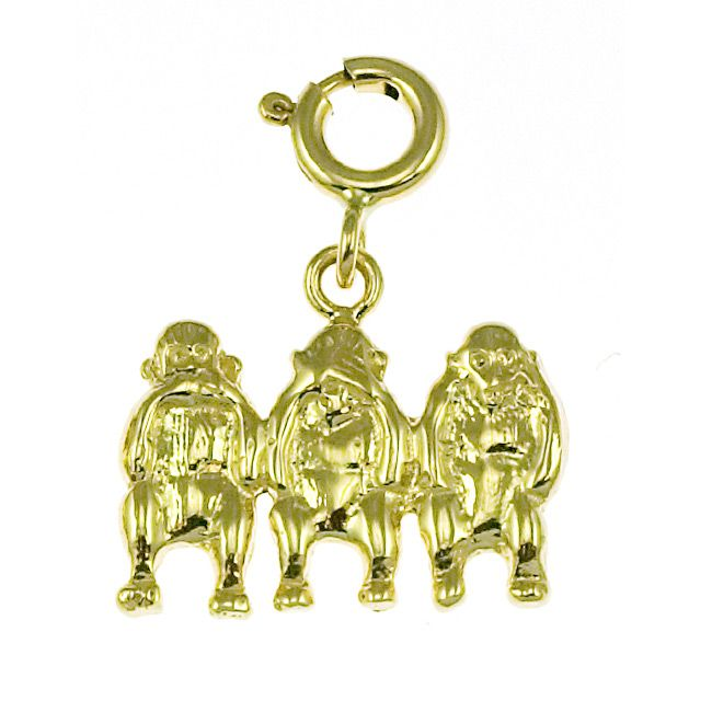 Monkeys Charm Pendant 14k Gold