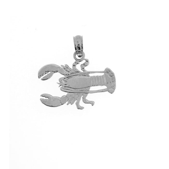 Lobster Charm Pendant 14k White Gold