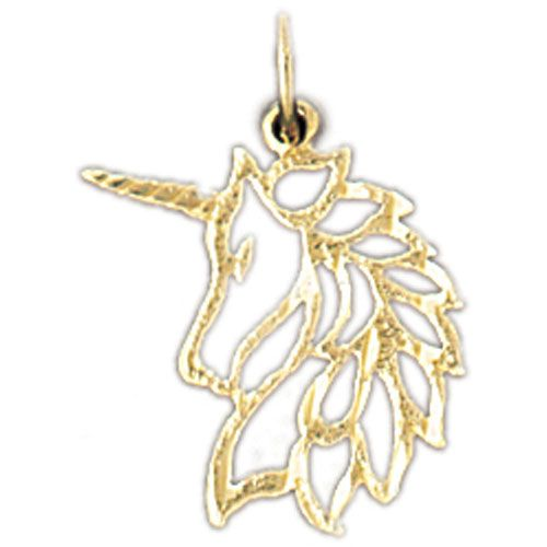 Unicorn Head Charm Pendant 14k Gold