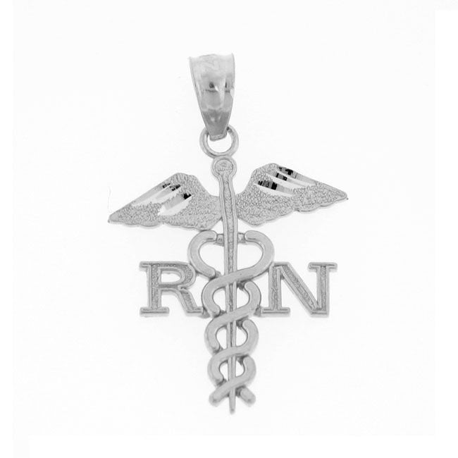 Rn Medical Sign Charm Pendant 14k White Gold