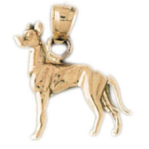 Great Dane Dog Charm Pendant 14k Gold