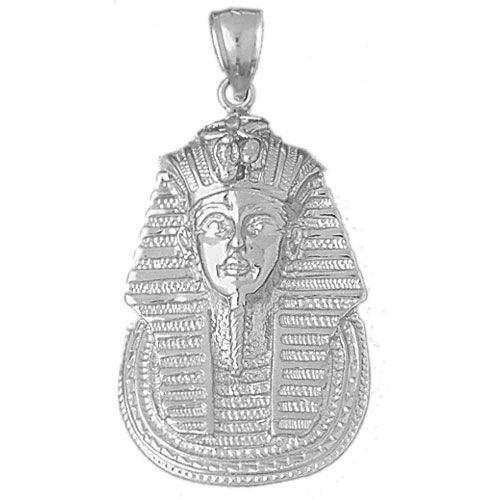 Egyptian Pharaoh Charm Pendant 14k White Gold