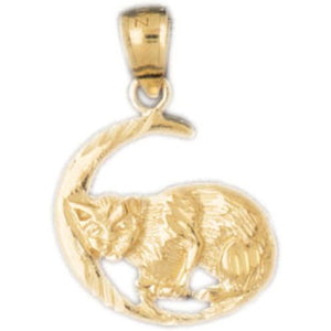 Cat Kitten on Moon Charm Pendant 14k Gold