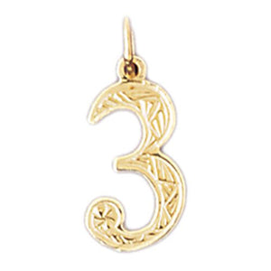 Charm Pendant 14k Gold Number 3