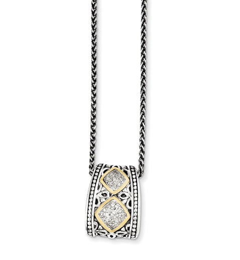 Sterling Silver w14k 110ct. Diamond Pendant Necklace