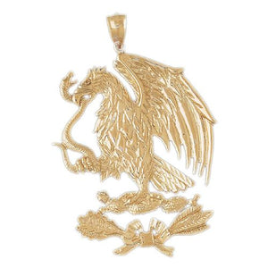 Flying Eagle Eating Snake Charm Pendant 14k Gold