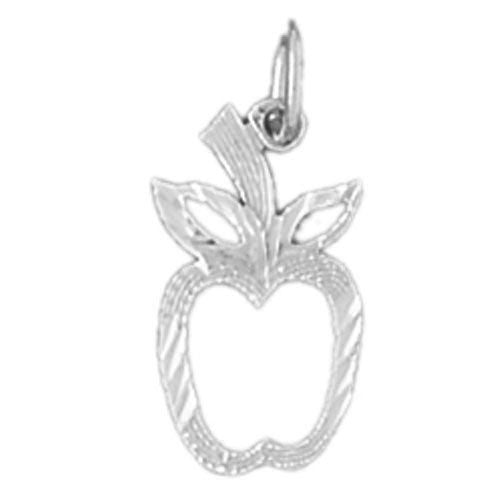 Apple Fruit Charm Pendant 14k White Gold