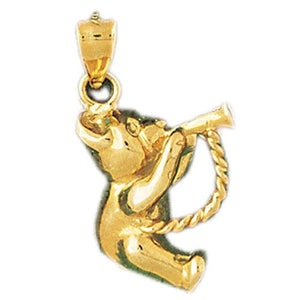 Teddy Bear With Trumpet Charm Pendant 14k Gold