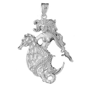 Mermaid Charm Pendant 14k White Gold