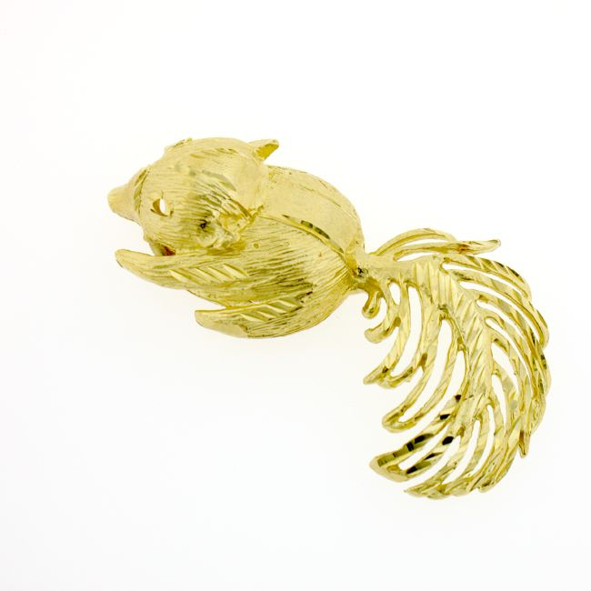 Squirrel Charm Pendant 14k Gold