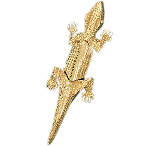 Alligator Crocodile Charm Pendant 14k Gold