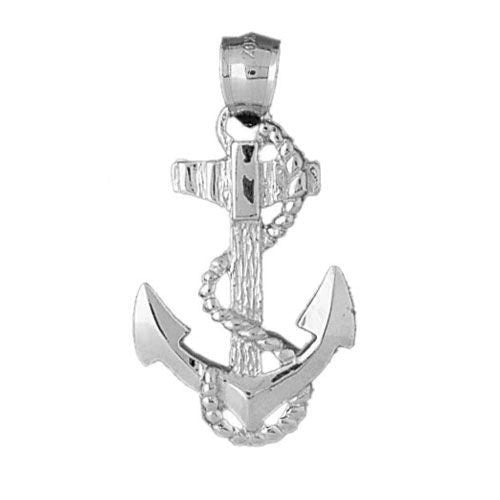 Ship Anchor Charm Pendant 14k White Gold