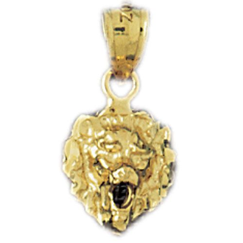 14k Gold Lion Head Charm Pendant