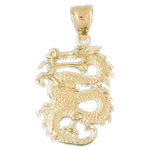 3D 14k Gold Dragon Charm Pendant