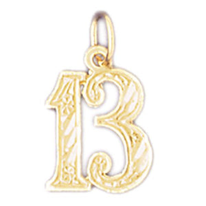 Charm Pendant 14k Gold Number 13