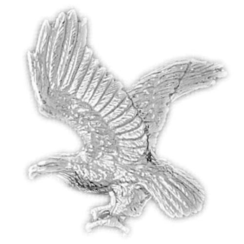 Flying Eagle Charm Pendant 14k White Gold