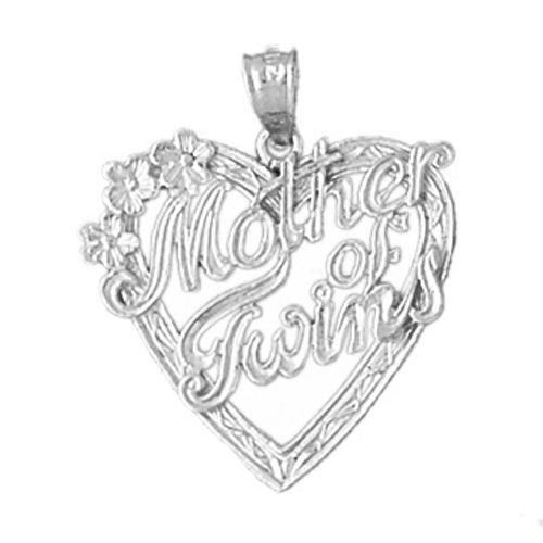Mother Of Twins Charm Pendant 14k White Gold