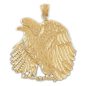 Sitting Eagle Charm Pendant 14k Gold
