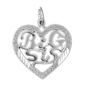 Big Sister Heart Charm Pendant 14k White Gold