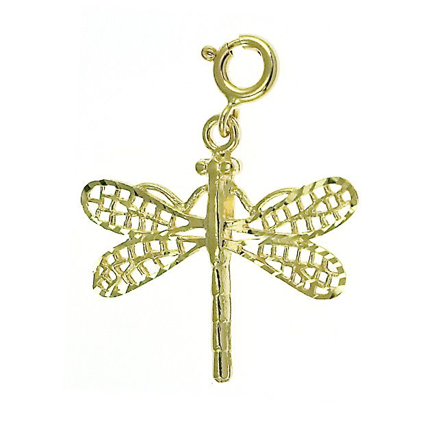 Dragonfly Charm Pendant 14k Gold