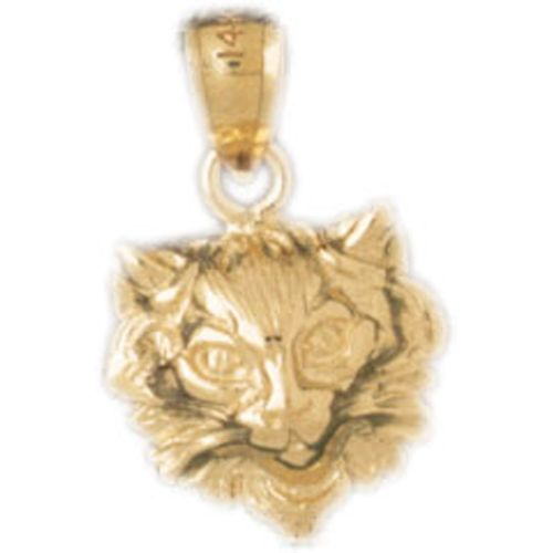 Cat Head Charm Pendant 14k Gold