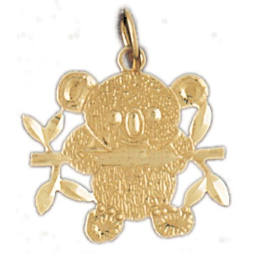 Teddy Bear With Branch Charm Pendant 14k Gold