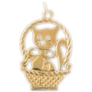 Cat Kitten in Basket Charm Pendant 14k Gold