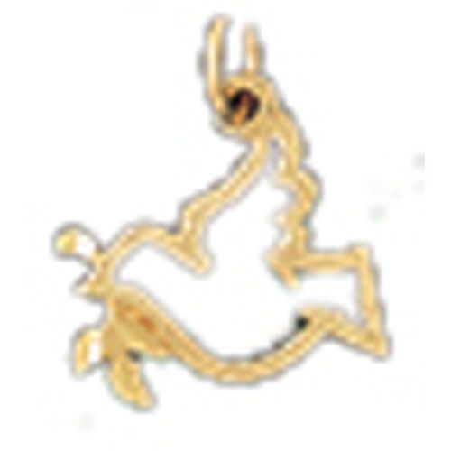Bird With Olive Branch Charm Pendant 14k Gold