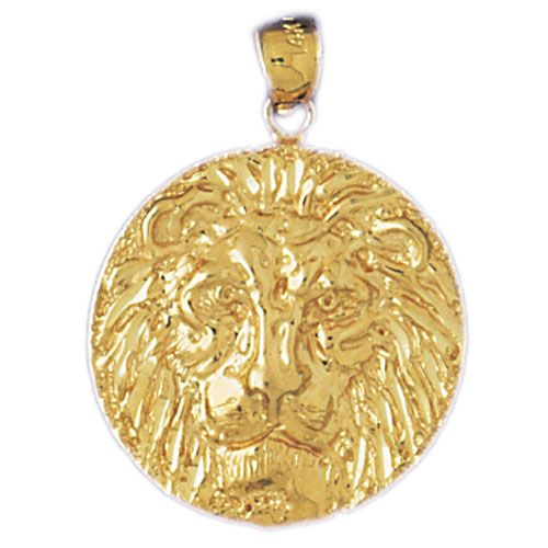 Lion Head Charm Pendant 14k Gold