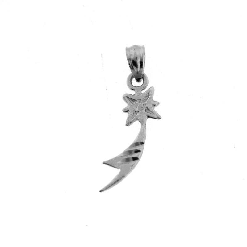 Shooting Star Charm Pendant 14k White Gold